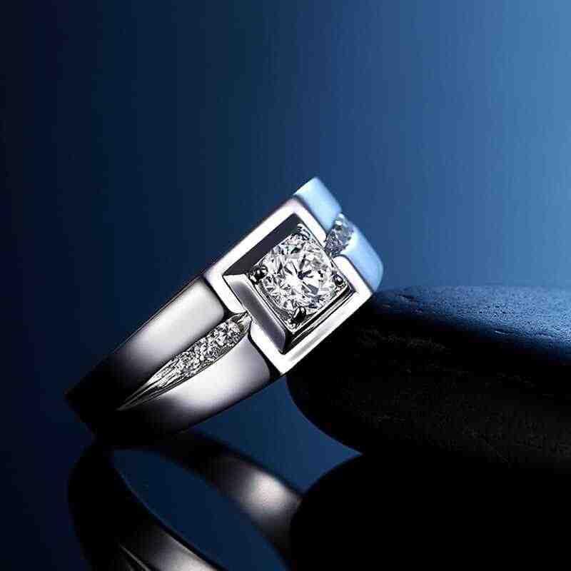 ส่งใบรับรอง! Real 925 เงินแหวนผู้ชายเครื่องประดับ Inlay CZ Zircon แหวนหมั้นแหวนของขวัญผู้ชาย KPRJ29