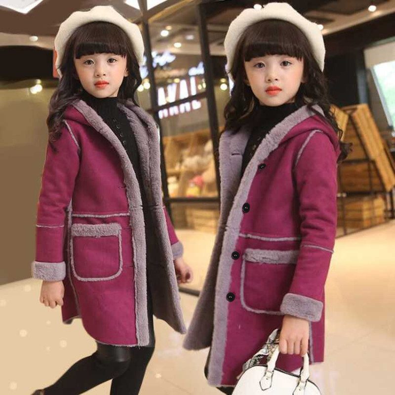 Kids girl overcoat Winter new fashion Losh wool coat for girls Teens autumn Hooded jacket warm long outerwear Children Windproof цена 2017