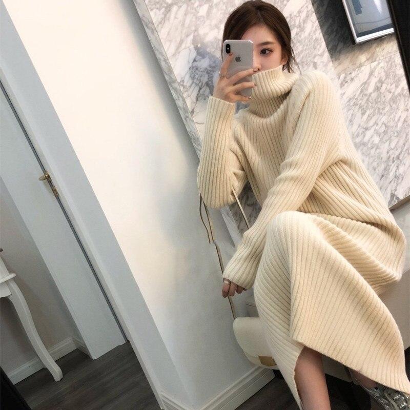 Laine Sexy ardoisé Mode Tricoté Cachemire Solide Mince noir De En Col Pull Robe Haute Pulls Beige Long Femmes D'hiver 2018 Roulé Élastique xBtCsdQrh