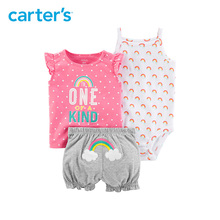 Carter s 3 Piece baby children kids clothing Girl Summer rainbow Little Short Set 121I412