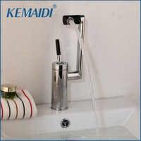 Kemaidi frete grátis deck montado torneira da cozinha torneiras do banheiro giratória 360 latão quente & fria água misturadora
