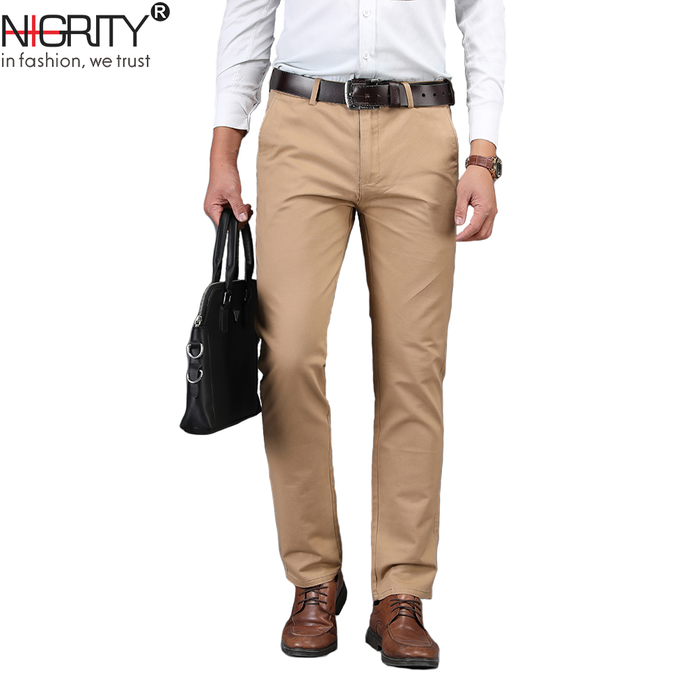 NIGRITY 2020 Men Pants Casual High Quality Classics Fashion Male Trousers Business Formal Full Length Mens Pants