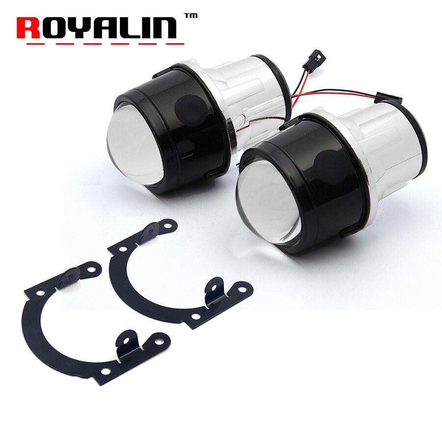 ROYALIN Universal faros de niebla lente del proyector del xenón del Bi H11 2,5 pulgadas bifocales del Metal conducción impermeable parachoques delantero Retrofit lámpara