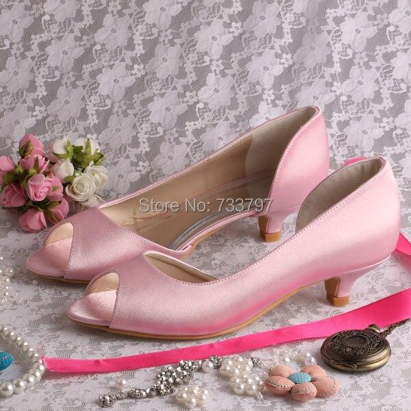 Wedopus MW772 Custom Handmade Ladies Pink Low Heel Weddings Shoes Bridesmaid Pumps
