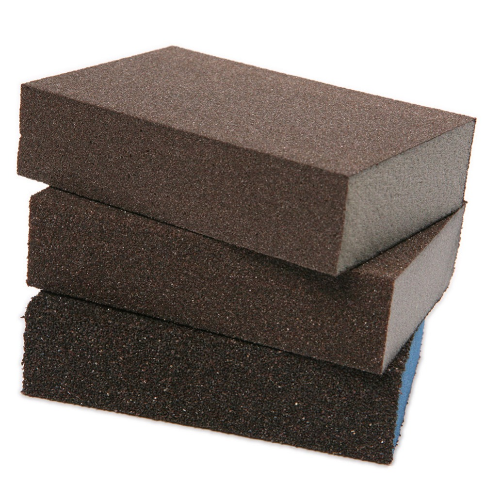 Fixmee 3pcs Polishing Sanding Sponge Block Pad Set Sandpaper Assorted Grit 80 180 320