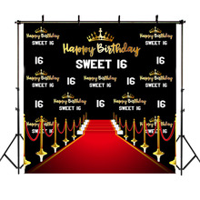 цена на NeoBack Crown 16th Birthday Party Backdrop Red Carpet Sweet Girl Repeat Photography Backdrops Studio Shoots