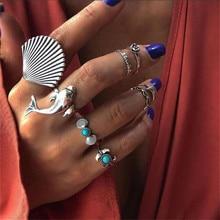 8pcs/set Boho Silver Color Big Shell Dolphin Knuckle Midi Ring Set for Women Beach Green Rhinestone Shell Rings Set Anillos