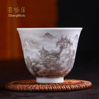 Changwuju in Jingdezhen the handmade famillie rose Kung Fu one single tea cup painted by Jinhongxia