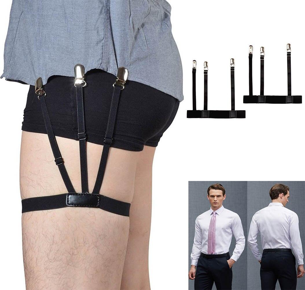 1 Pair Men/'s Shirt Stays Holders Elastic Garter Belt Suspender Locking Clamps HS