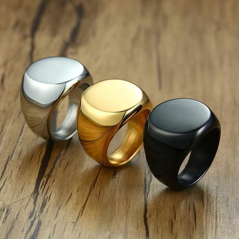 Мужские Круглые верхние кольца-печатки 20 мм не сужающийся книзу персонализированные гравировки Тяжелая нержавеющая сталь штамповое Кольцо Панк мужской мальчик Анель