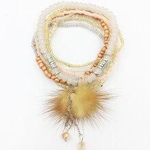 7pcs/set Vintage Bohemian Handmade Jewelry feather leaves pop Crystal Beads Bracelet Bohe Woman Braclet Femme Wrist Band New