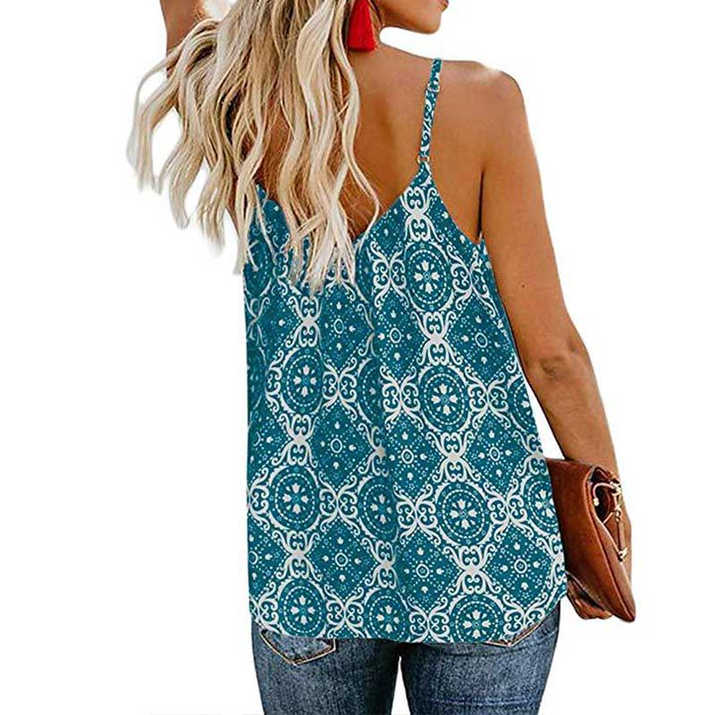 Summer <font><b>haut</b></font> <font><b>femme</b></font> Ladies Fashion Printed Sling Top <font><b>Sexy</b></font> V-neck Top Casual Style Comfortable Breathable Top image