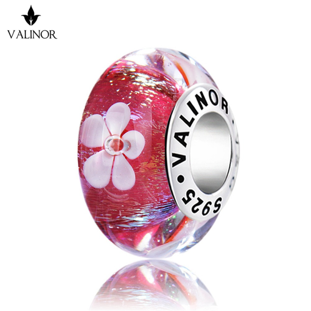 White <font><b>flowers</b></font> silk reflective effect red murano glass beads charms 925 Sterling Silver fit Bracelets Jewelry Trendy JKLL011