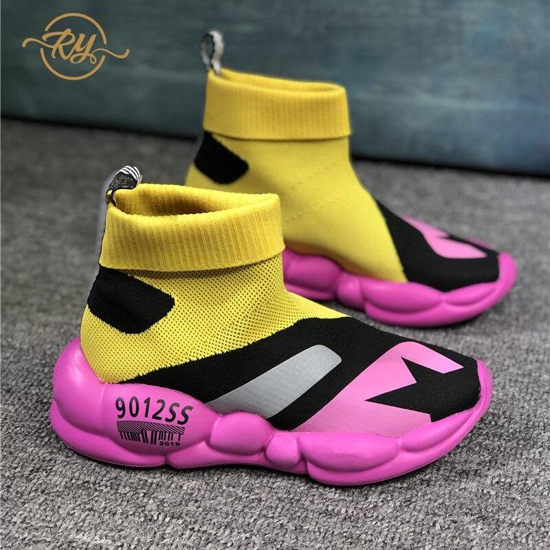 RY-RELAA femmes baskets chaussures 2018 chaussures de créateur de mode marque de luxe en cuir véritable femmes chaussures en peau de porc chaussettes chaussures