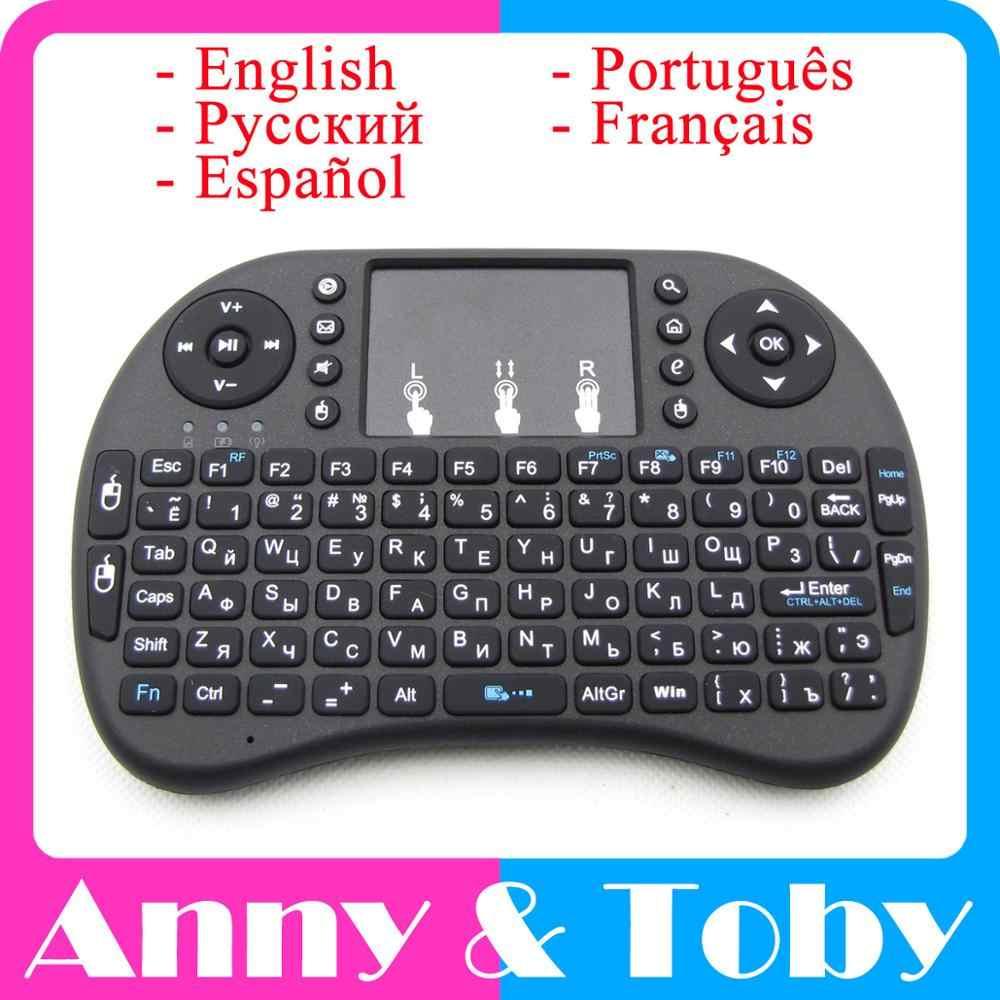 Teclado inalámbrico 2,4G Raspberry PI 3 teclado de aire ratón táctil inglés/ruso/español/portugués/francés de la caja de TV Tablet PC