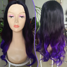 Beautiful high quality ombre lace front center part wig Long curly two tone black Purple color