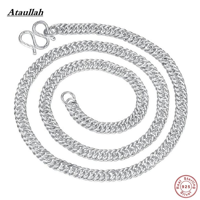 Moda 120g hombres y mujeres genuino sólido 100% plata pura Collares s990 plata esterlina joyería ataullah nwp427