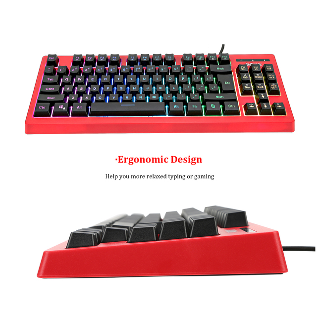 RedThunder K870 RGB Backlit Computer Wired Keyboard 87 Keys Teclado USB Powered for Desktop Laptop Gaming and Typing 5