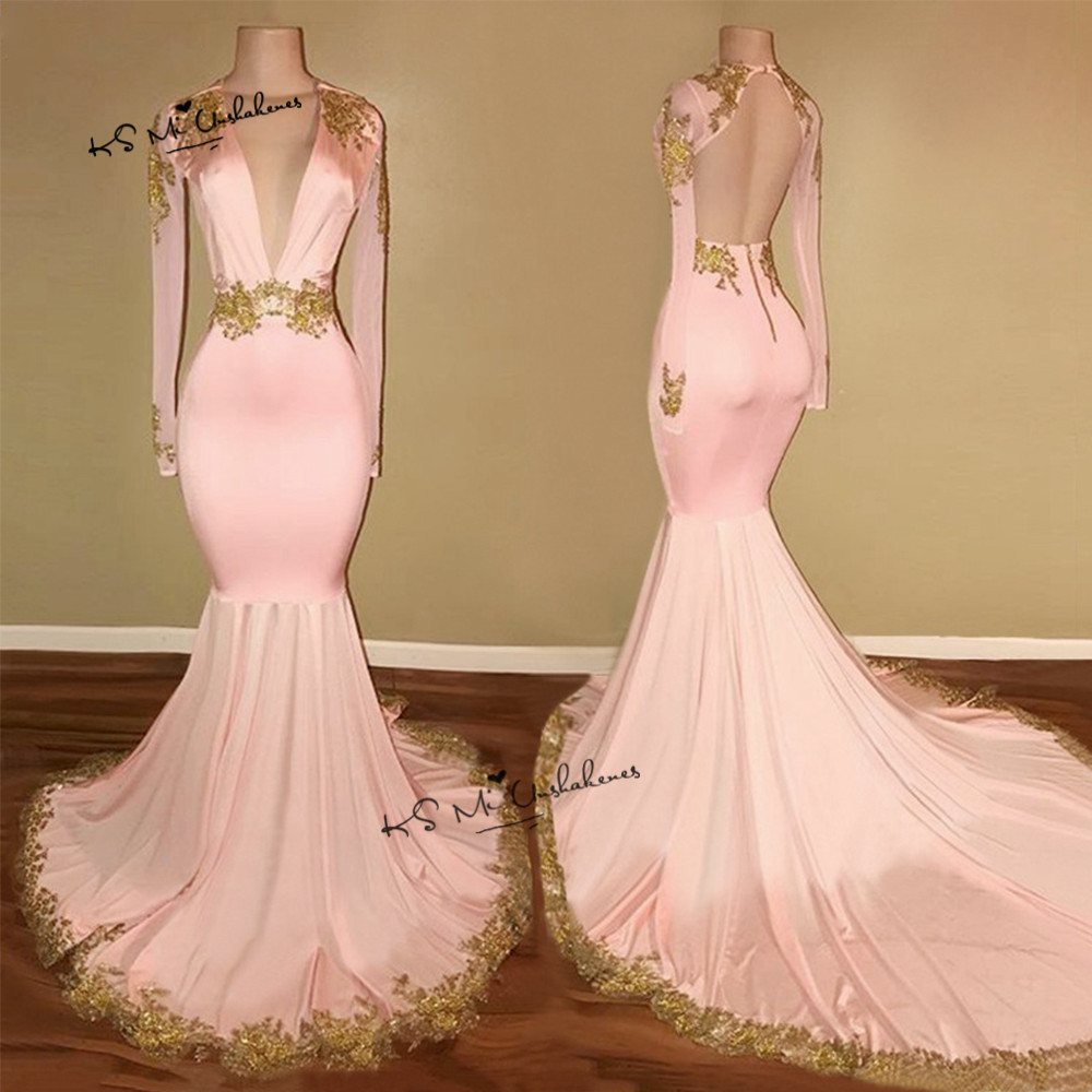 Sexy Backless   Evening     Dresses   Long Sleeve Pink Gold Lace Mermaid Deep V Neck Prom Party   Dress   Formal Abendkleider 2018 Abiye