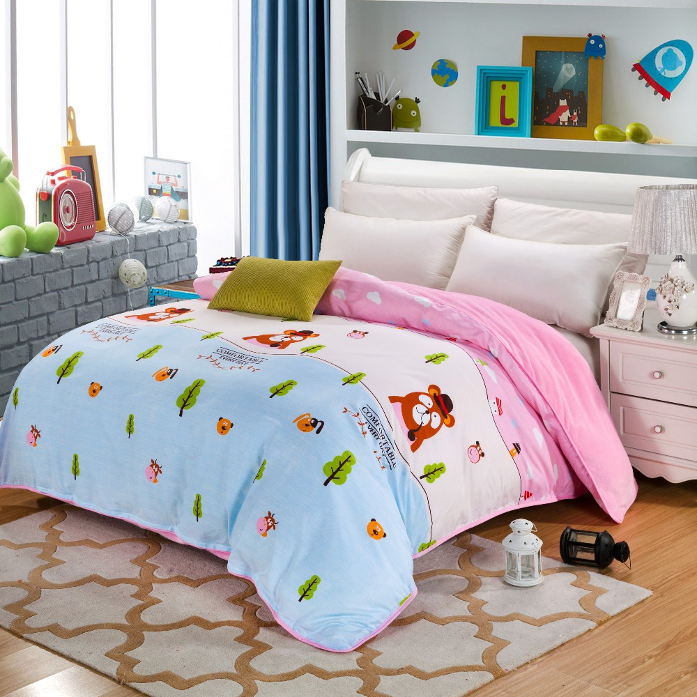 Cartoon style Flannel Winter Thick Duvet cover sets 4 size Warm Bedding bedclothes quilt AB surface design cotton + Flannel