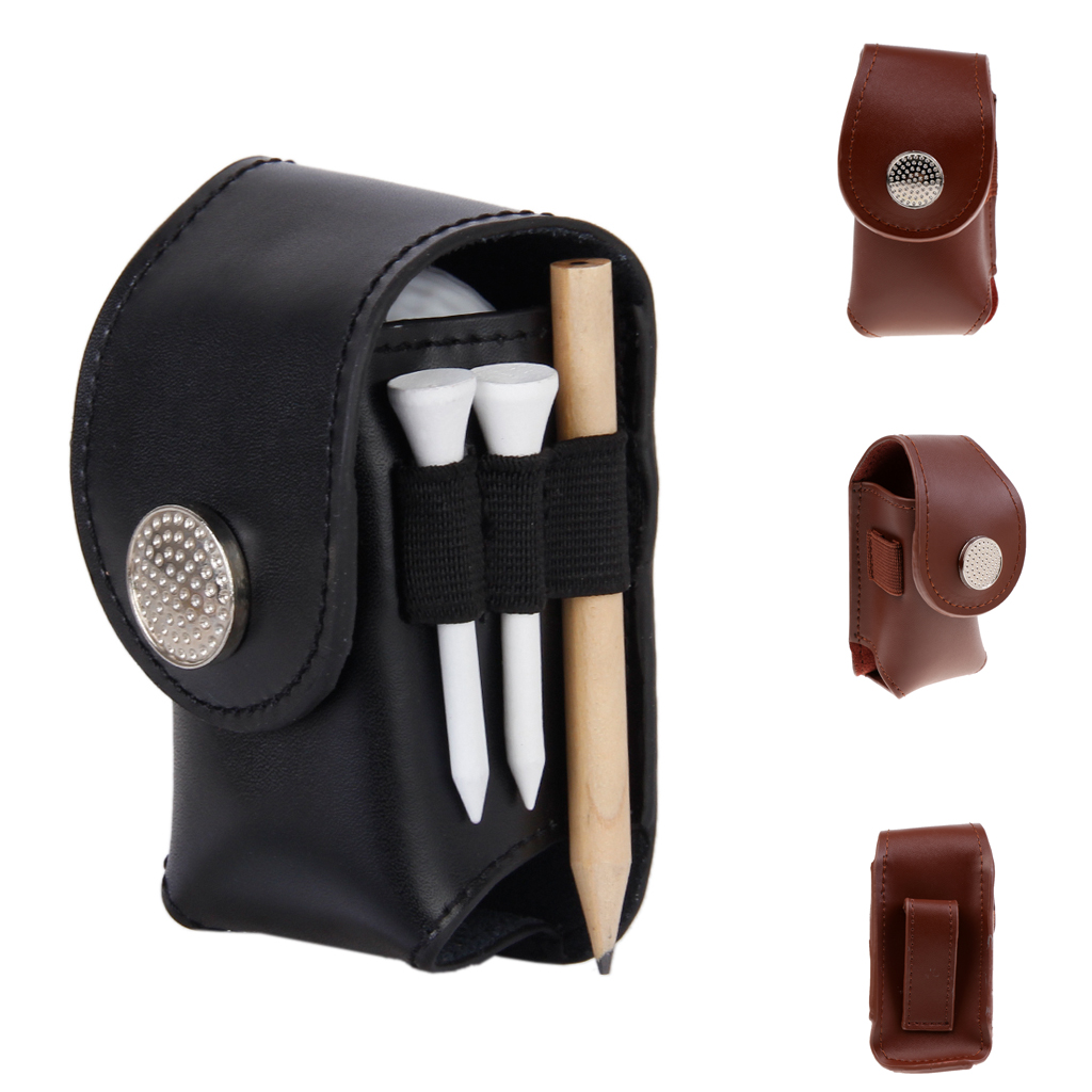 MagiDeal Mini Portable Leather Clip On Golf Ball Holder Pouch Tees Storage Bag