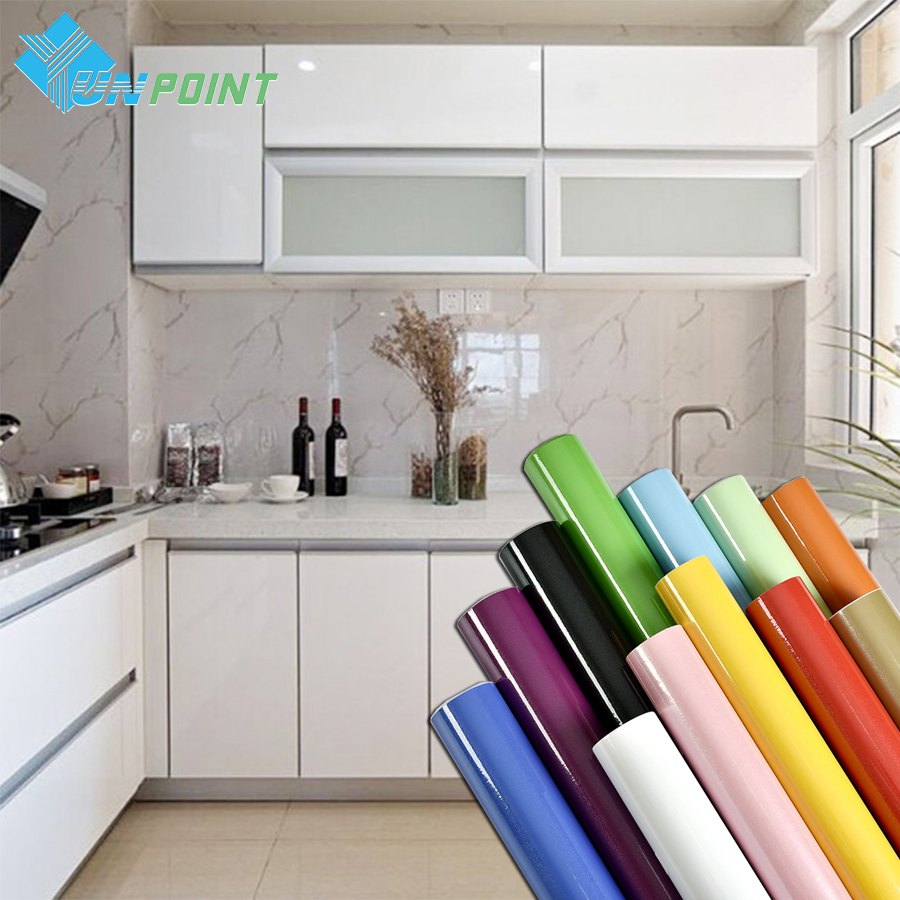 Pearl White DIY Decorative Film PVC Self adhesive Wall paper Furniture Renovation Stickers Kitchen Cabinet Waterproof Wallpaper