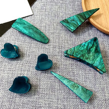 acrylic hair claw green clips for women accessories jewelry triangle heart hairgrips tiara barette cheveux femme