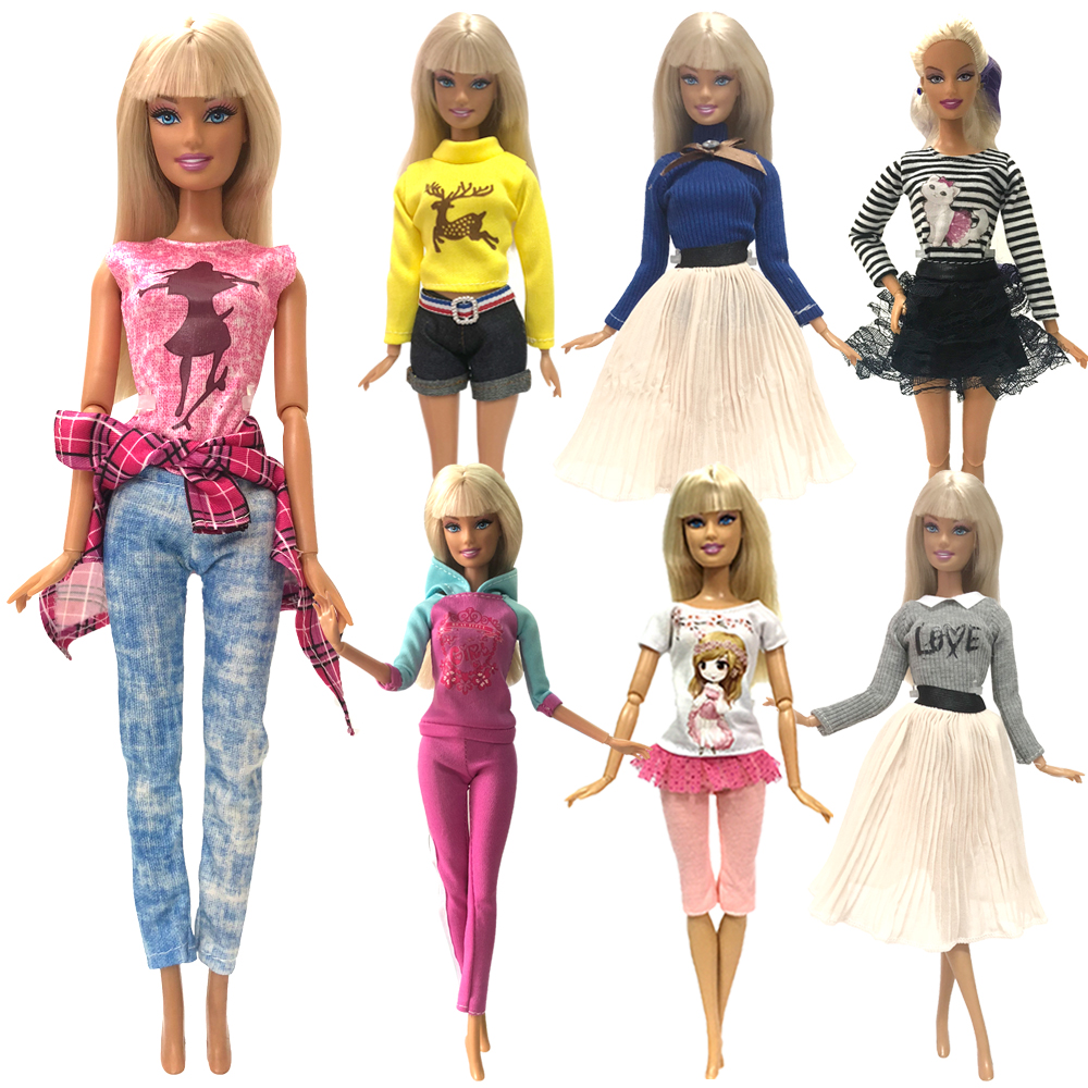 NK 1x Doll Summer Dress Wedding Party Gown Skirt Daily Casual Wear Clothes For Barbie Doll DIY Accessories Baby Girl Toy A6  JJ