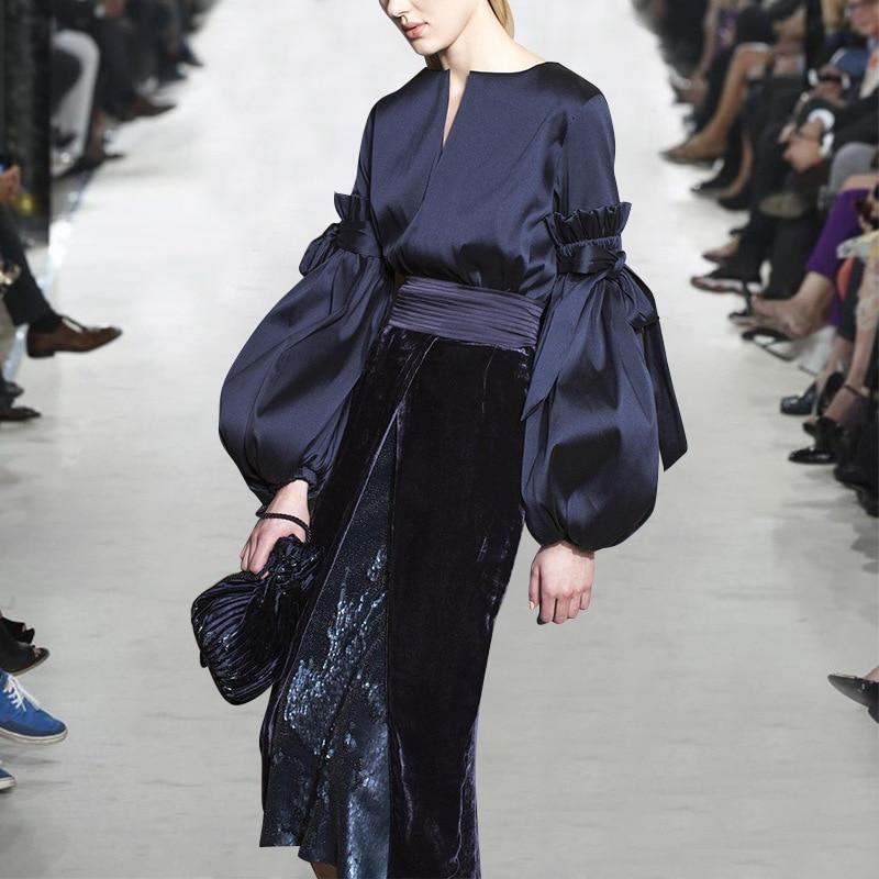 Popeline Arc Ol Automne Deat Bouse Black Wb62601xl Vêtements Col Femelle Plissé Rond Grande Manches Mode Lanterne De 2018 Nouvelles Outfit Femmes OqC14