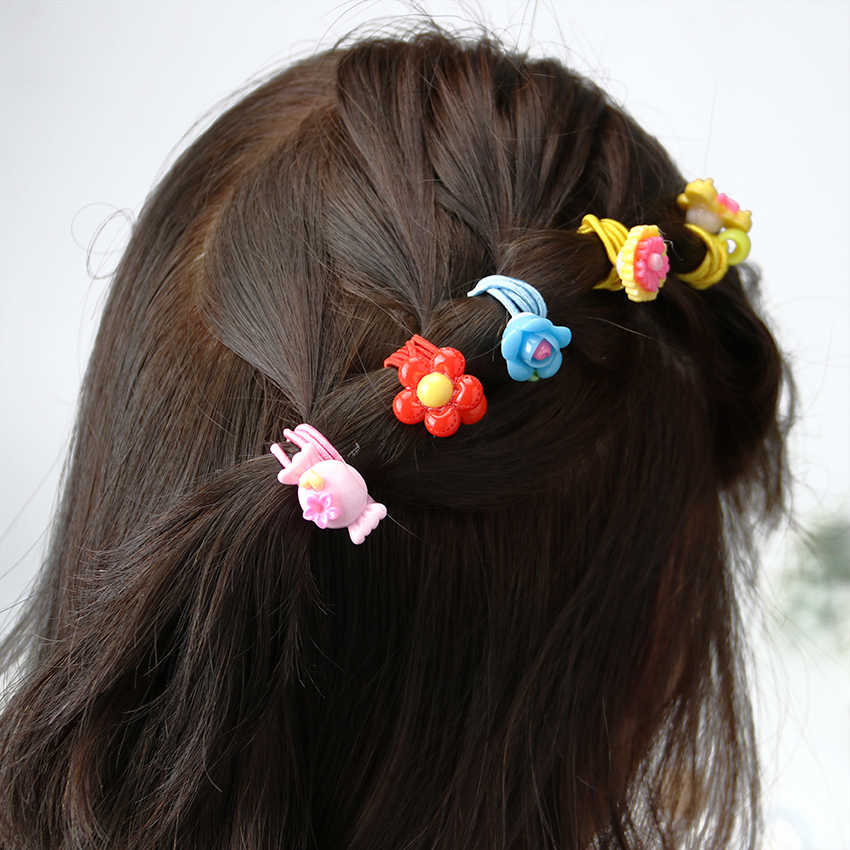 12PCS เด็กแหวนผมหญิง Headband ดอกไม้ผมวงยืดหยุ่นผมผู้ถือหางม้าอุปกรณ์เสริมสัตว์รูปแบบเชือก