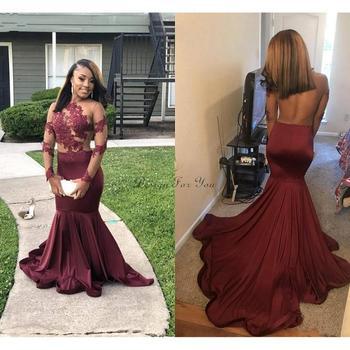 Arabic Burgundy Mermaid Evening Dresses Long 2020 robe de soiree Long Sleeve Prom Gowns Black Girl Women Formal Party Dress