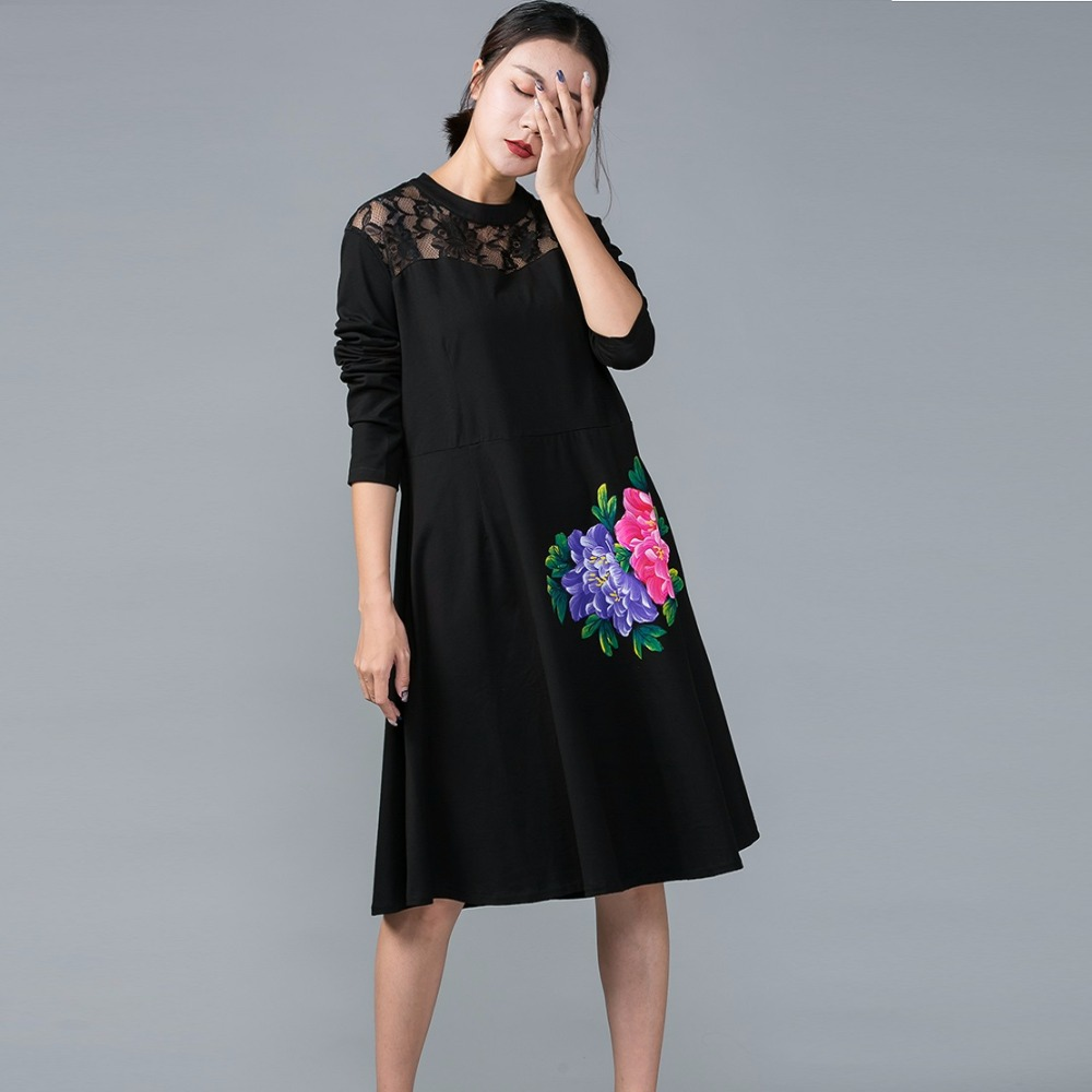 Us 4818 34 Offnational Wind Hand Painted Elegant Dress Autumn Women Loose Fit Lace Patchwork Cotton Dress Comfortable Vestidos Plus Size 5xl In