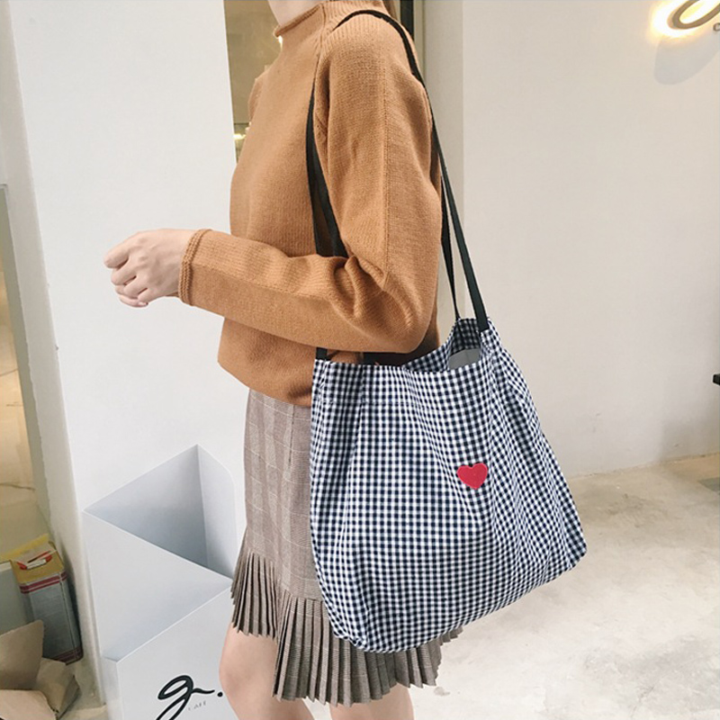 Women Canvas Shoulder Bag Black White Plaid Red Heart Deer Embroidery Ladies Shopping Bag Handbags Totes Cotton Cloth Beach Bags Сумка