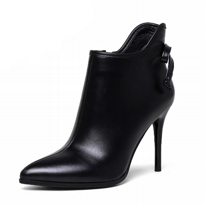 ФОТО High Quality Genuine Leather Bowtie Thin High Heels Shoes Woman Fall Winter Boots Size 34-43 Fashion Pointed toe Ankle Boots