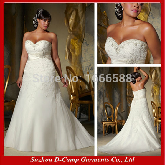 Free shipping wd 1147 elegant empire line big boobs for Wedding dresses for large breasts