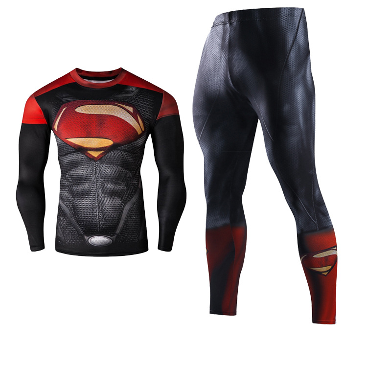 2018 Men Fitness Clothing Running Set Superhero Superman Tracksuit Set Clothing Sportswear Sets 3D Print Full Compression Sets in Running Sets from Sports Entertainment