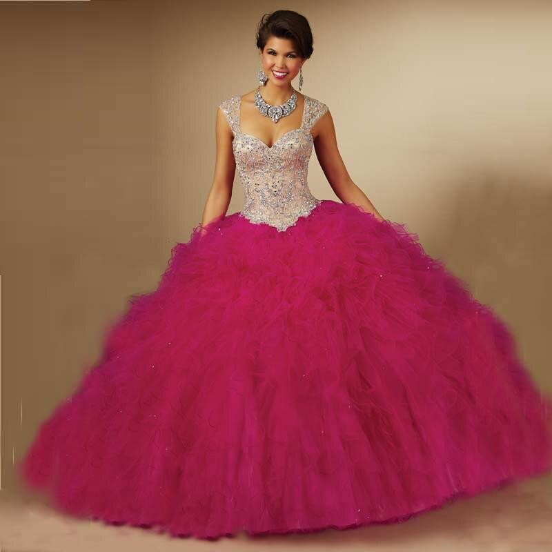 84cb96f71 2016 Vestidos De quinceañeras cristales Ruffles Organza Quinceanera Dresses  Prom vestido De bola Vestidos del dulce 16 Vestidos fiesta en línea en  Vestidos ...