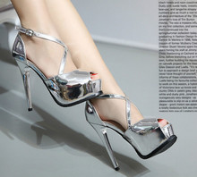 Summer new high with fine with the fish head sandals Waterproof shallow mouth hollow cross straps sexy shoes