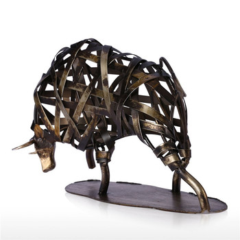 Abstract Braided Cattle Figurine Weaving Animal Art Sculpture Metal Art&Craft Home Decoration Accessories For Living Room R490