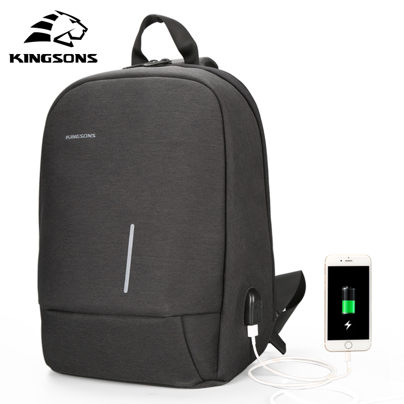 Kingsons 13.3 inch Wateproof Single Shoulder Laptop Backpack for Men Women 2018 New Anti-theft USB Charging Messenger Chest Bag