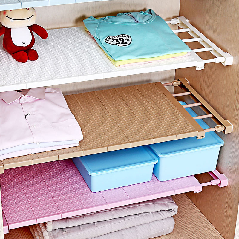 Plastic Adjustable Closet Organizer Storage Shelf DIY Wall Mounted Kitchen Rack Space Saving Wardrobe Decor Cabinet Holder