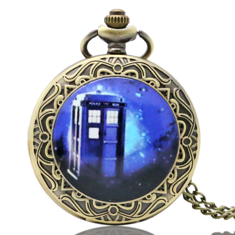 Mysterious Doctor Who Antique Pocket Watch With Neckalce Chain Free Shipping Best Gift For Men/Women fire fighter theme old antique bronze pocket watch with chain necklace free shipping best gift to firemen