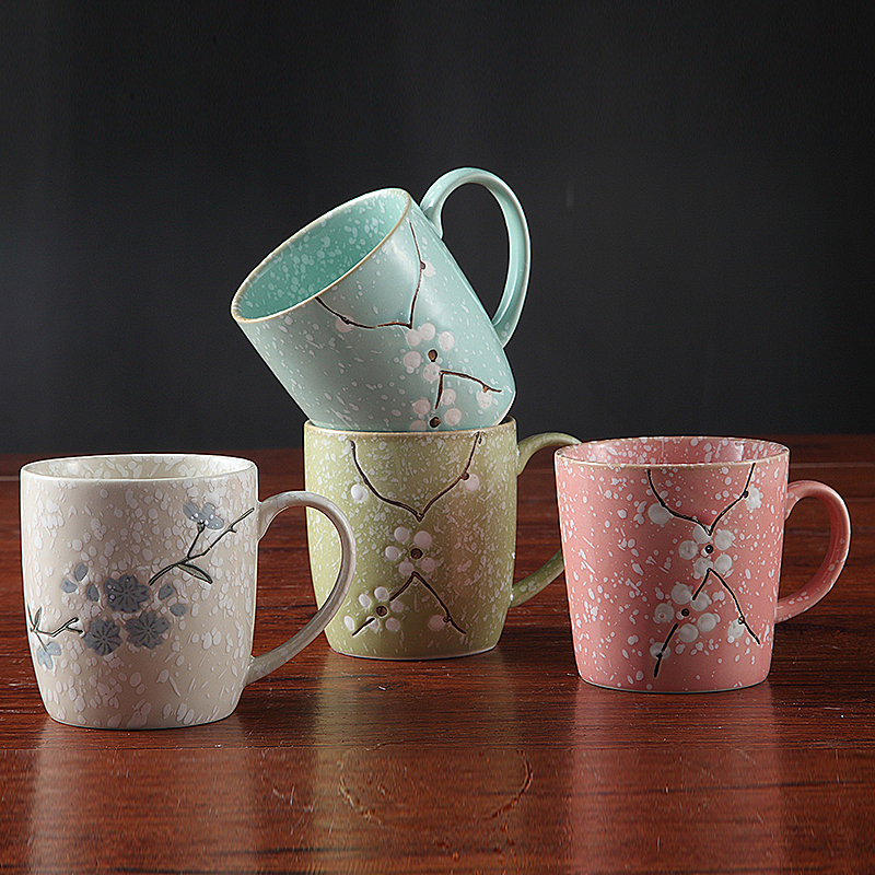 Sakura Cups Brief Office Coffee Milk Tea Cups Home Couples Mugs Breakfast Hand Painted Cherry Blossom