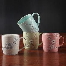 Sakura Tassen Kurze Büro Kaffee Milch Tee Cups Home Paare Becher Frühstück Hand Painted Cherry Blossom Becher Kostenloser Versand