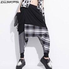 Hip Hop Streetwear Women Drop Crotch Harem Pants Plaids &