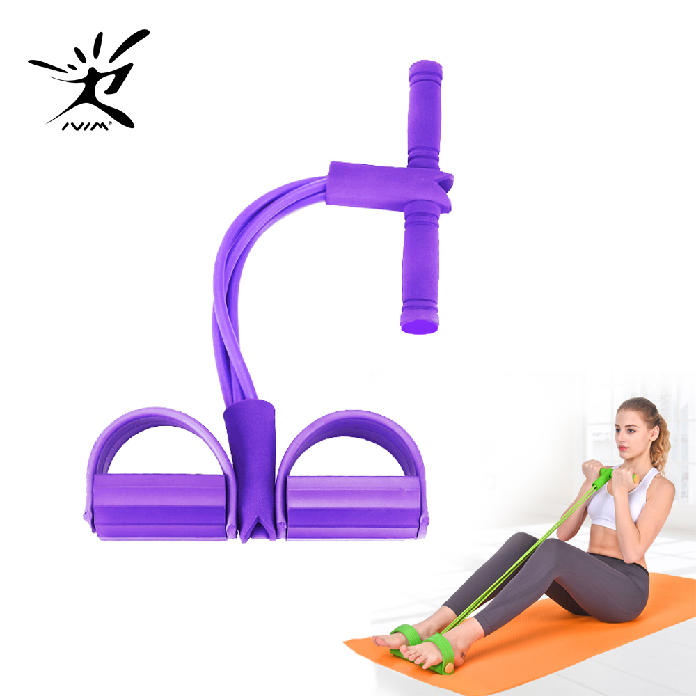 Goma de fitness 4 faixas da resistência do tubo látex pedal exercitador sit-up puxar expansor de corda bandas elásticas equipamentos yoga pilates treino
