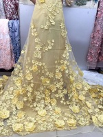 Yellow Embroidered Tulle Lace 3D Lace Fabric With Pink Flowers Embroidered Lace Fabric With 3D Flowers