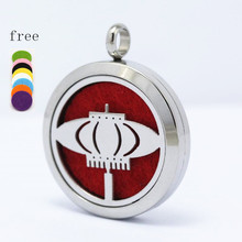 25/30mm Magnetic Perfume Locket Lantern Pattern Essential Oils Stainless Steel Diffuser 10pcs(Free Pads)