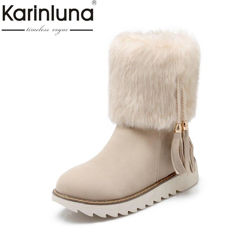 где купить KARINLUNA Big Size 34-43 Fringe Black Women Shoes Woman Leisure Flat Heel Add Warm Fur Plush Winter Snow Boots mid-calf Boots по лучшей цене