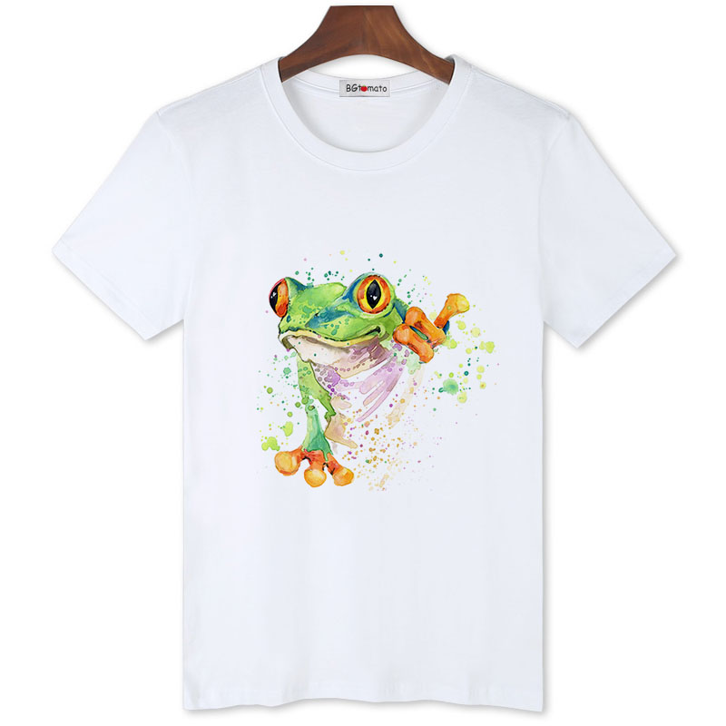 BGtomato hand print <font><b>frog</b></font> <font><b>tshirt</b></font> funny printing casual t-shirt men original brand good quality summer shirts hip hop tops image